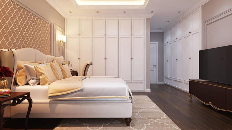 Không gian phòng ngủ bố trí cho căn biệt thự kiểu pháp sang trọng
