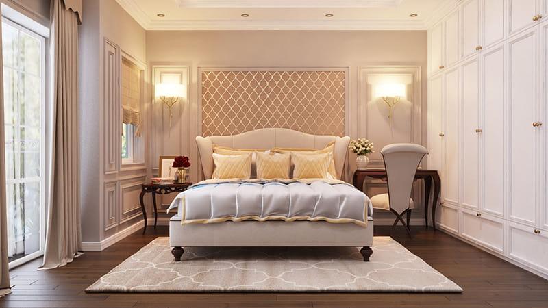 Không gian phòng ngủ thoáng mát với ô cửa sổ kính lớn