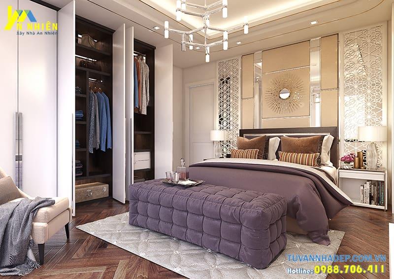 Phòng ngủ thoáng mát với giường lớn và tủ quần áo hiện đại