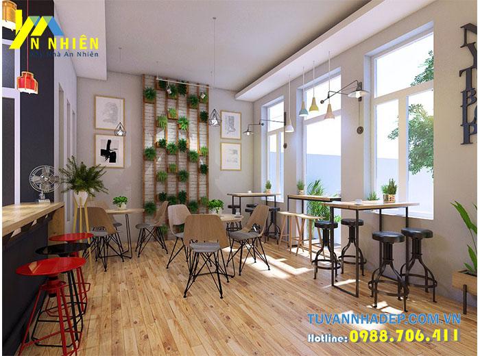 nội thất quán ăn với gỗ mdf