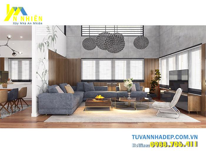 hình ảnh phòng khách với gỗ mdf
