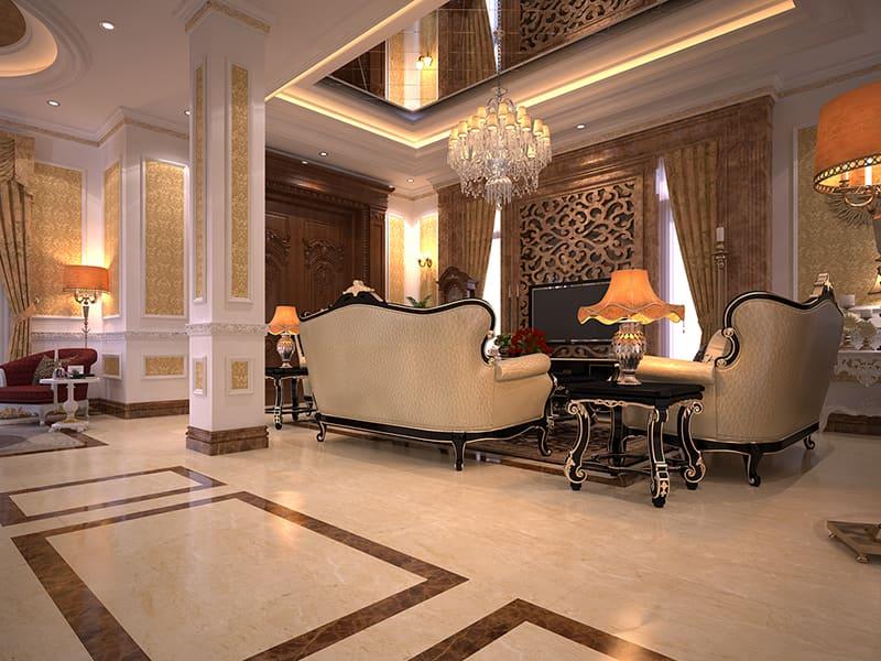 Trang trí phòng khách căn biệt thự tân cổ điển tại Hà Nội