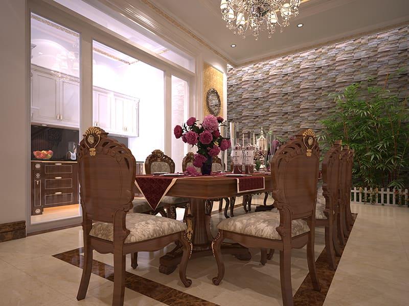 Phòng bếp với bộ bàn ghế gỗ đẹp