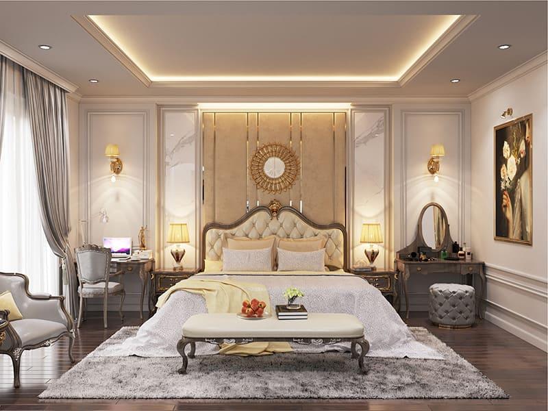 Bộ nội thất phòng ngủ sang trọng tiện nghi với giường và bàn trang điểm đẹp