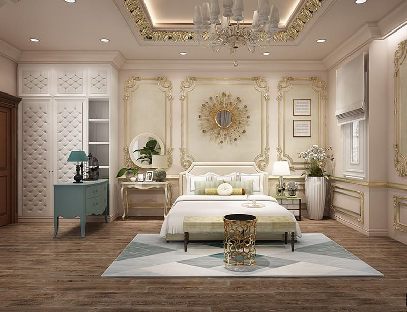 Căn phòng rộng trang trí nội thất hoa vă tinh xảo