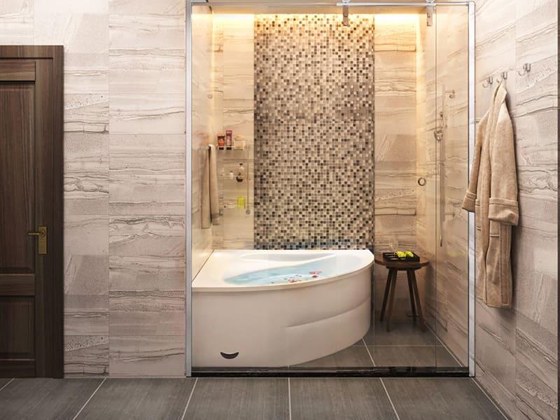 Phòng tắm rộng với bồn tắm lớn hiện đại