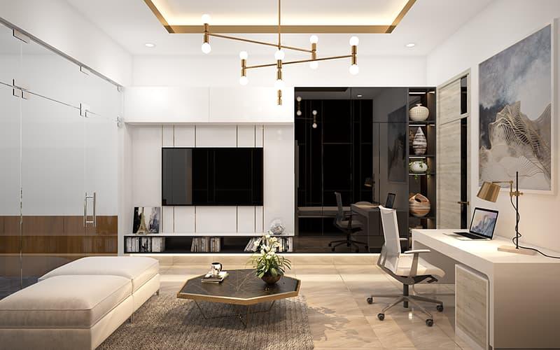 Phòng khách kết hợp không gian làm việc