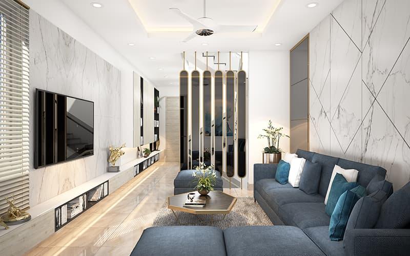 Lam gỗ ngăn cách phòng khách và phòng bếp tiện nghi