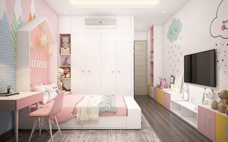 Phòng ngủ con gái trang trí màu hồng