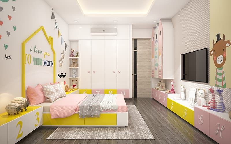 Phòng ngủ bé trai trang trí màu sắc tươi mới