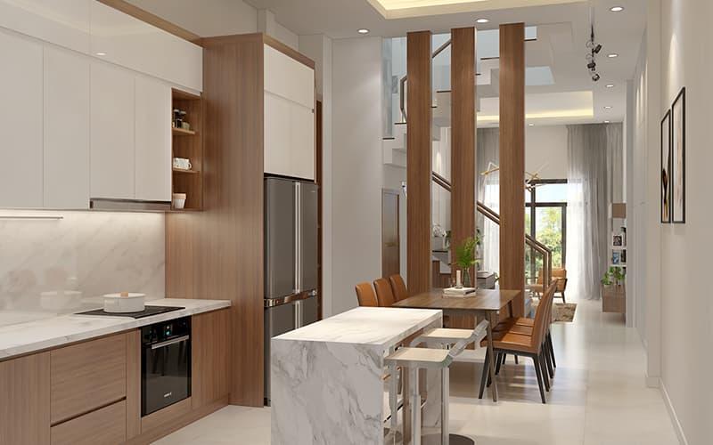 Lam gỗ ngăn cách không gian mang đến tính thẩm mỹ và không gian sử dụng