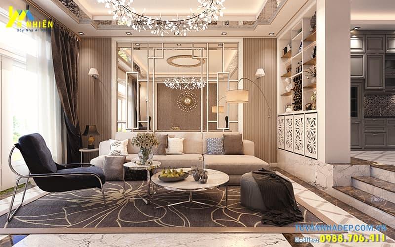 Trang trí nội thất phòng khách nhà phố 2 tầng 1 tum mặt tiền 6m