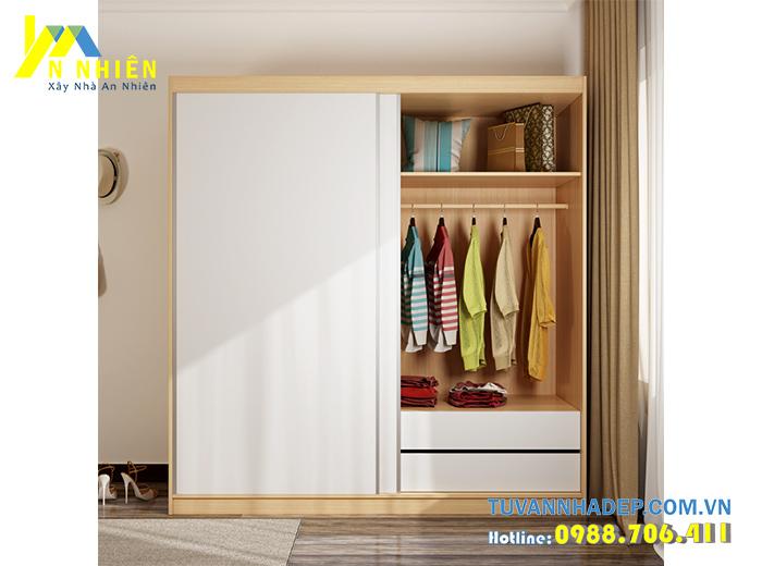 tủ quần áo đơn giản với gỗ công nghiệp