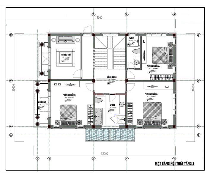 Phương án mặt bằng tầng 2