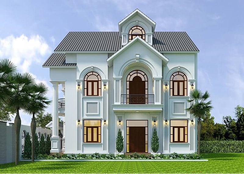 Bản vẽ phối cảnh mặt bên của ngôi nhà