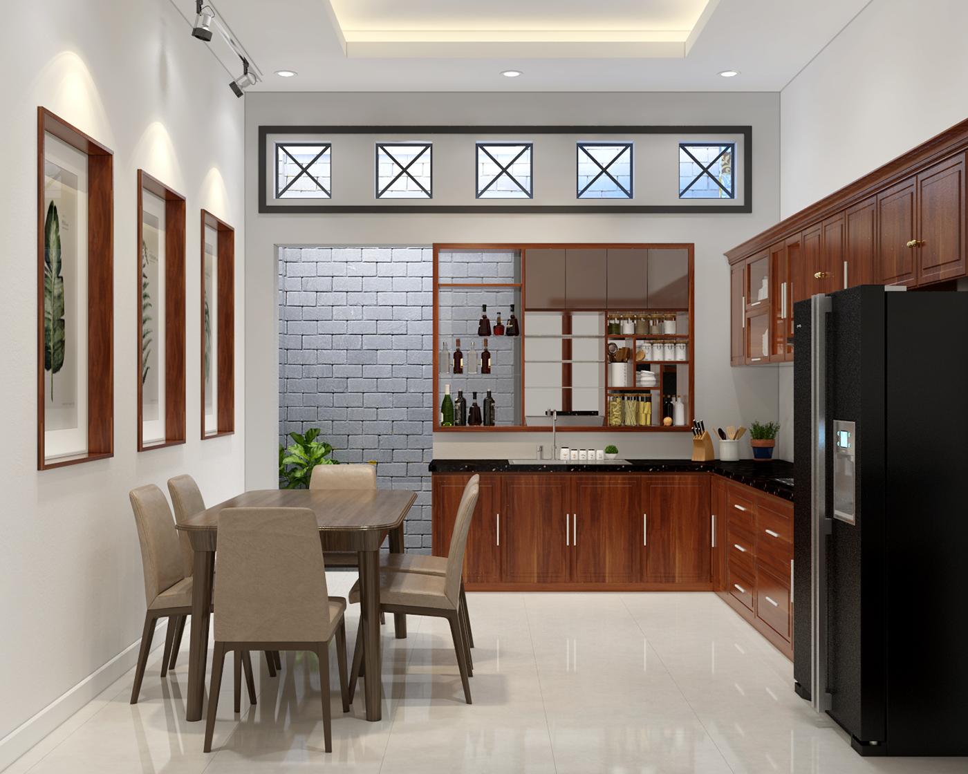 Phòng bếp phục vụ cho gia đình 4-5 thành viên