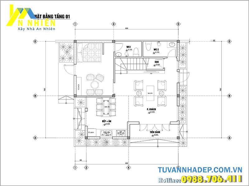 mặt bằng tầng 1 biệt thự 65m2