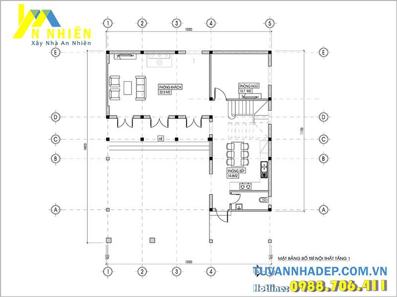 mặt bằng tầng 1 biệt thự 2 tầng 140m2