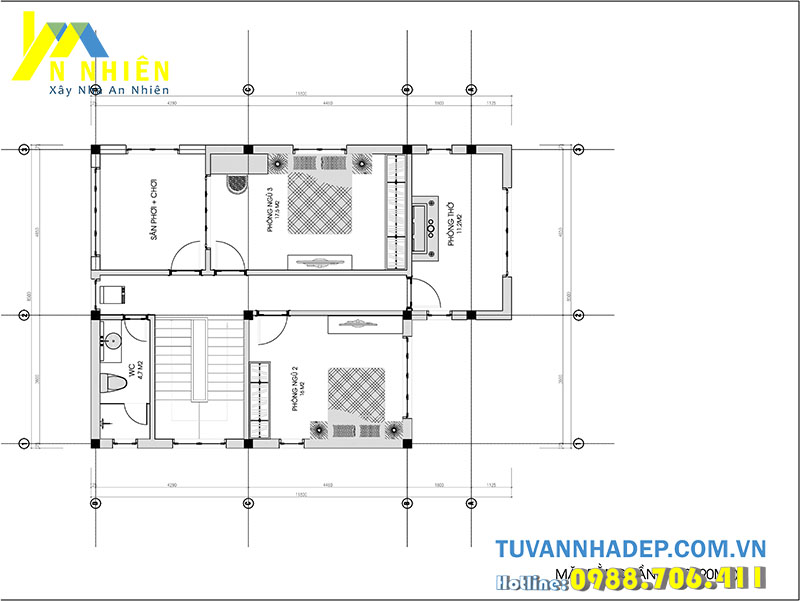 mặt bằng tầng 2 biệt thự 2 tầng 90m2