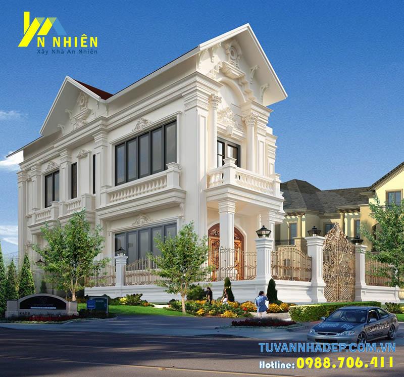 thiết kế biệt thự cổ điển 2 tầng cổ điển
