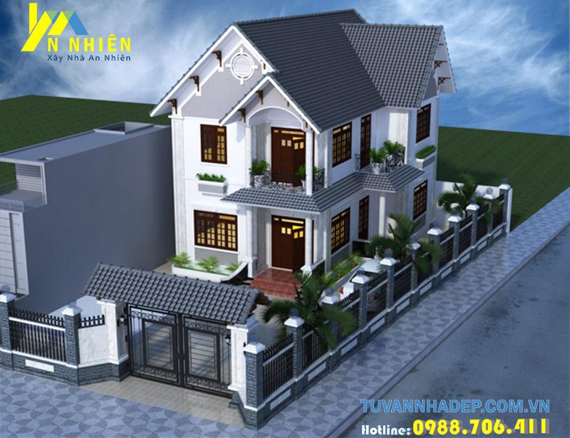 ngôi nhà xây dựng trên mảnh đất vuông vắn được bảo vệ bởi hệ thống cổng hàng rào chắc chắn