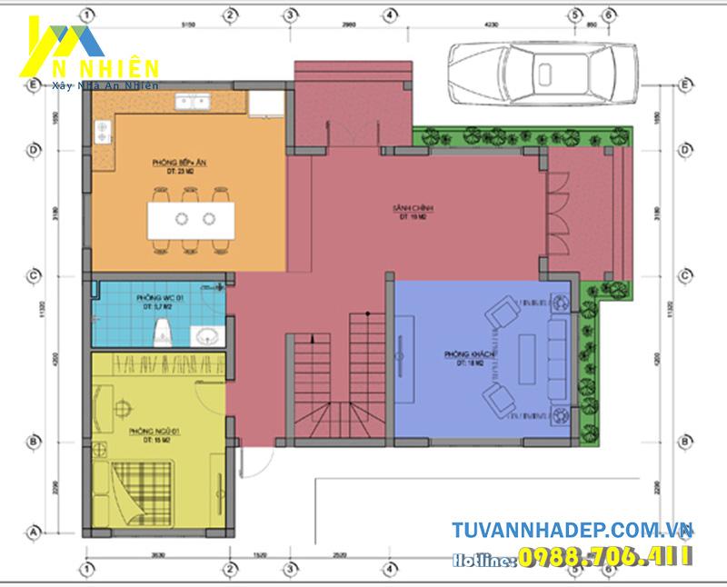 mặt bằng tầng 1 biệt thự 2 tầng 4 phòng ngủ