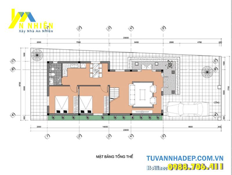 mặt bằng tầng 1 biệt thự 2 tầng ngang 6.5m