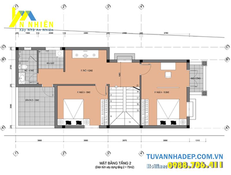 mặt bằng tầng 2 biệt thự 2 tầng ngang 6.5m