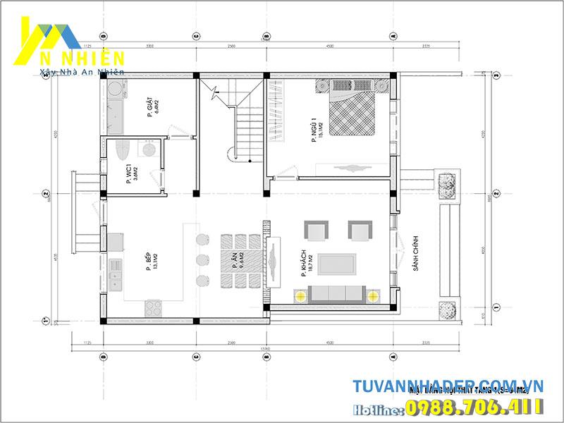 mặt bằng tầng 1 biệt thự 2 tầng ngang 9m hiện đại