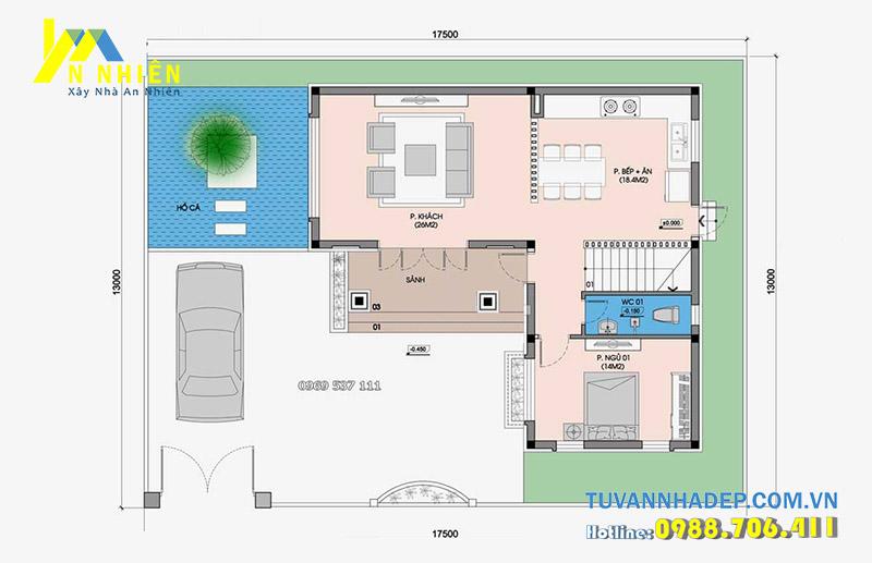 mặt bằng biệt thự 2 tầng 17x13m