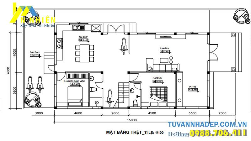mặt bằng tầng 1 nhà 2 tầng 114m2