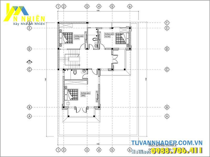 bản vẽ mặt bằng tầng 2 biệt thự 3 tầng 122m2
