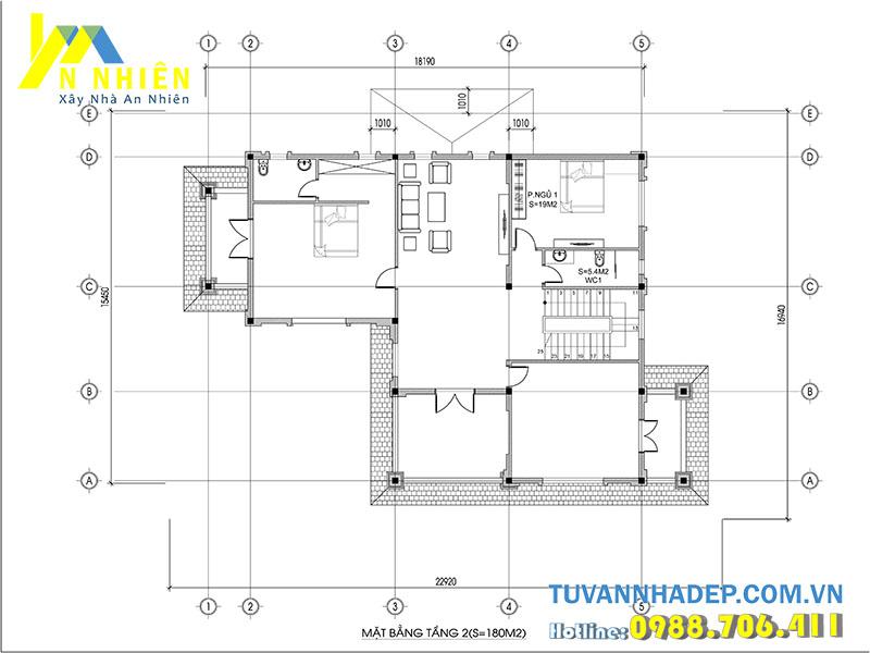 mặt bằng tầng 2 biệt thự 3 tầng 200m2