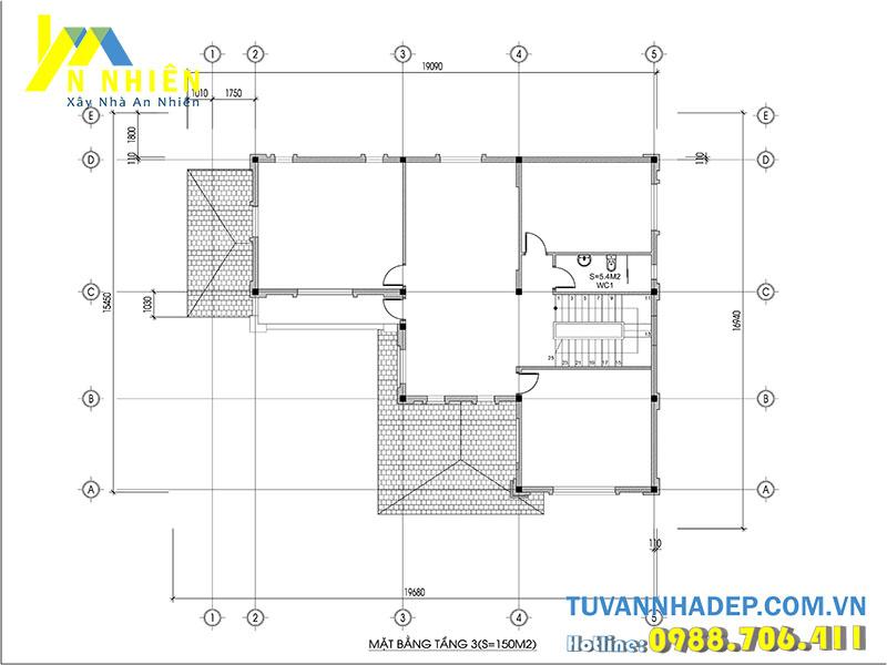mặt bằng tầng 3 biệt thự 3 tầng chữ l 200m2
