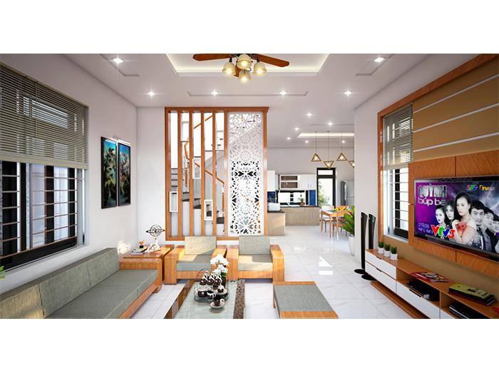 nội thất biệt thự 3 tầng chữ l 80m2