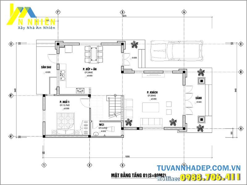 mặt bằng tầng 1 biệt thự 3 tầng 80m2