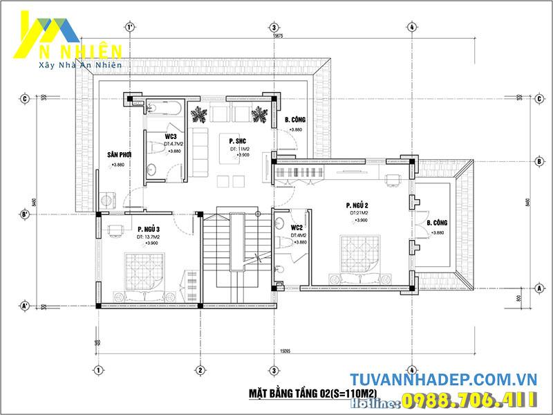 mặt bằng tầng 2 biệt thự 3 tầng 80m2