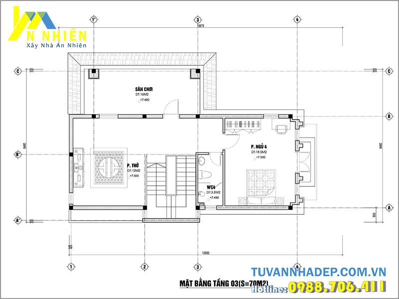 mặt bằng tầng 3 biệt thự 3 tầng 80m2
