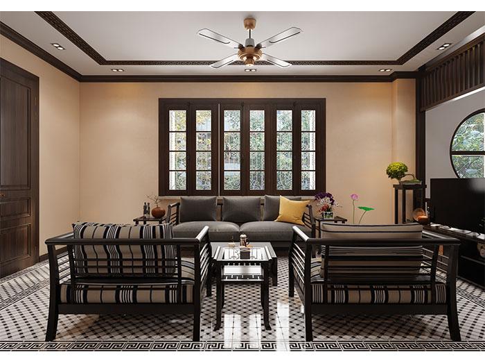 phòng khách sang trọng với nội thất gỗ