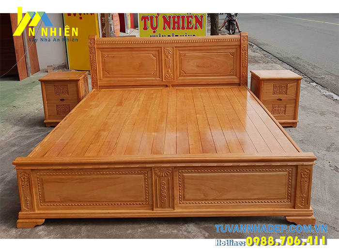 mẫu giường bằng gỗ gõ đỏ