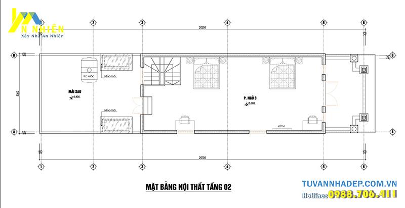 bố trí công năng tầng 2 nhà phố 2 tầng 5x20m
