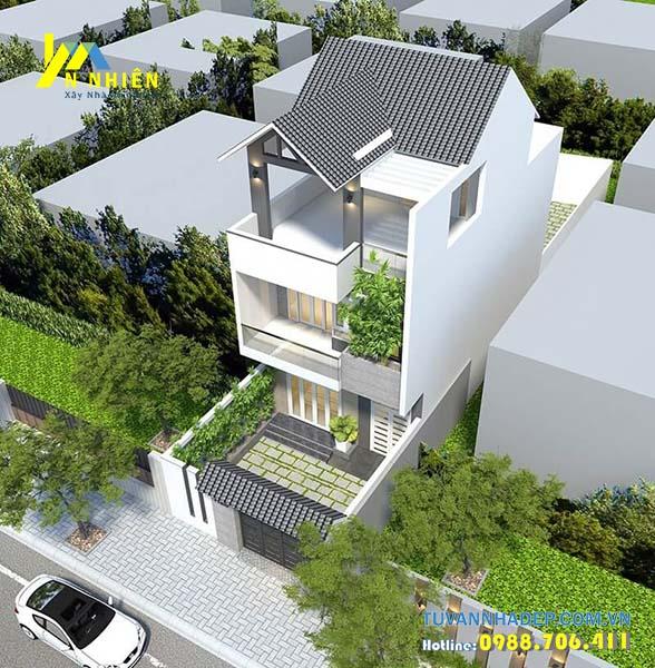 góc nhìn nhà phố 3 tầng ngang 6m hiện đại mái thái