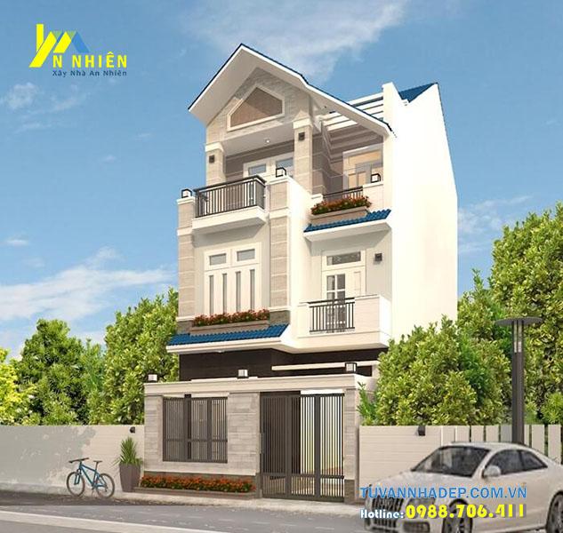 thiết kế nhà 3 tầng rộng 6m mái thái