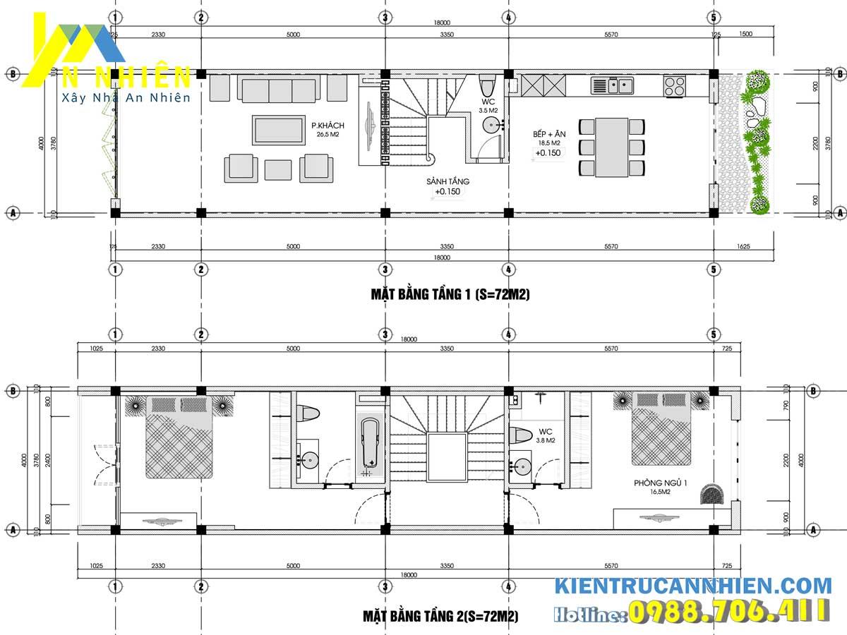 mặt bằng tầng 1 và tầng 2 nhà phố 3 tầng 1 tum mặt tiền 4m