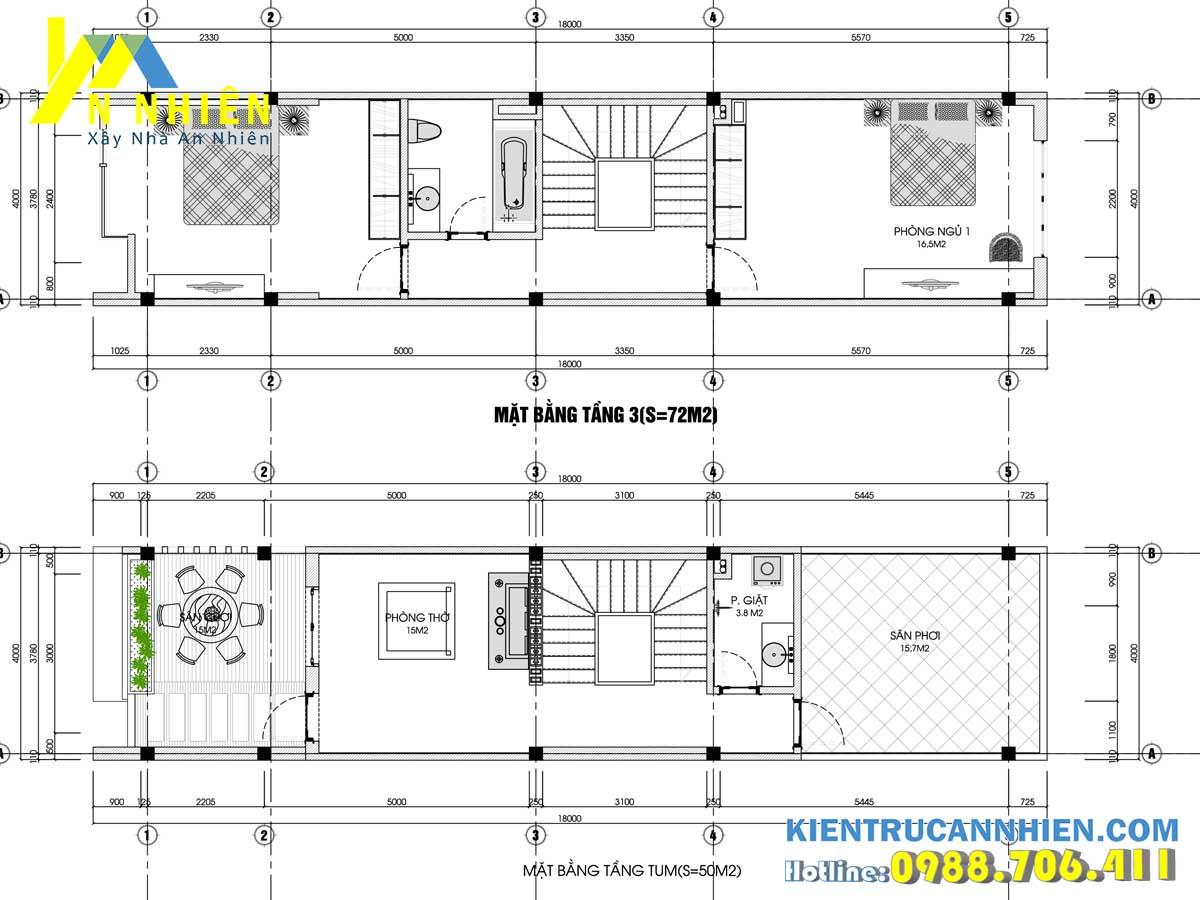 bản vẽ tầng 3 và tầng 4 nhà phố 3 tầng 1 tum ngang 4m