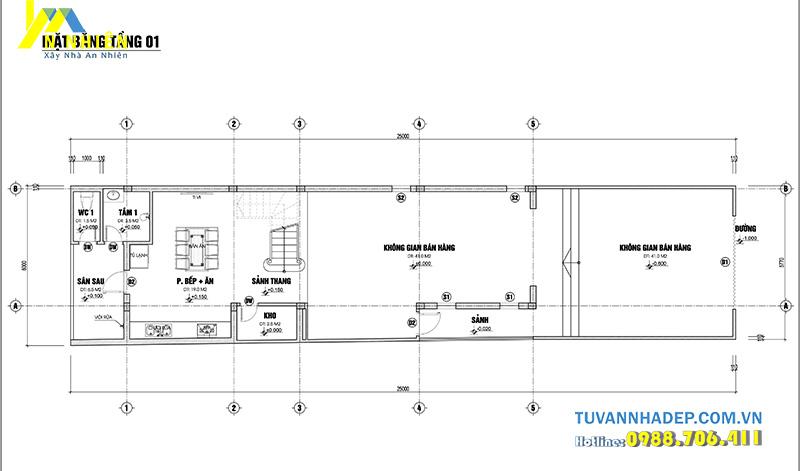 mặt bằng tầng 1 nhà phố 3 tầng ngang 6m mái thái