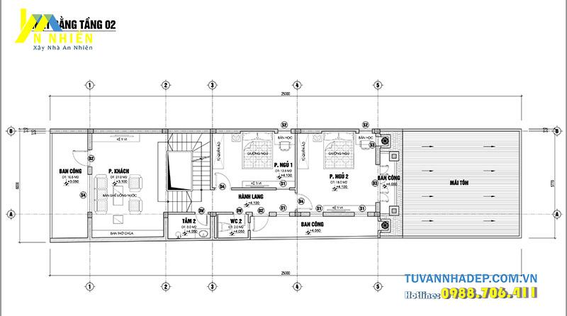 bản vẽ mặt bằng tầng 2 nhà phố 3 tầng ngang 6m