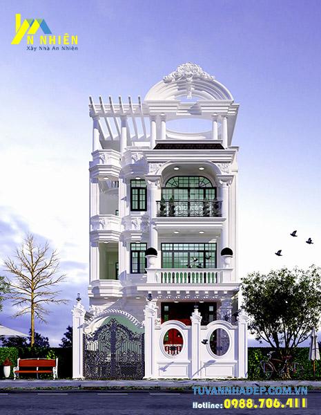mặt tiền nhà phố 3 tầng tân cổ điển ngang 7m
