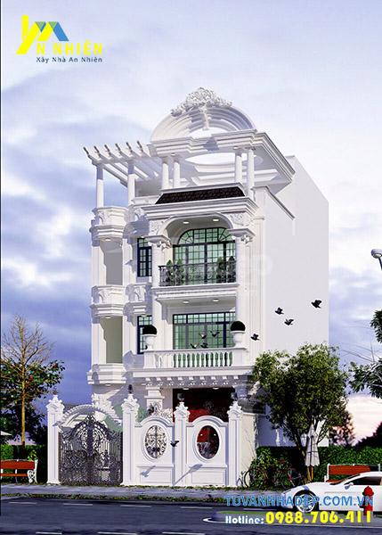 hình ảnh nhà phố 3 tầng tân cổ điển rộng 7m