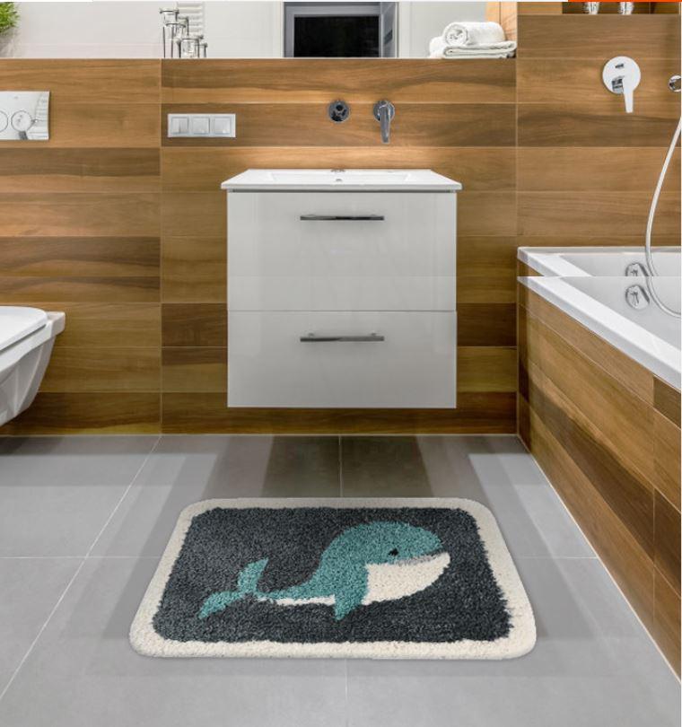 thảm chùi chân hình cá heo dùng cho nhà tắm